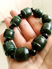 With farmland jade green jade bamboo successively superior's chain roll the bead transport hand Men's Bracelet - intl