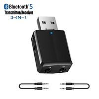 Upgraded USB Bluetooth Transmitter Receiver 3 in 1, Bluetooth 5.0 EDR Adapter Dongle for TV PC Headphones Home Stereo Car, HIFI Wireless Audio Adapter with 3.5mm AUX, USB Power Supply/Plug and Play