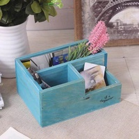 Zakka Retro Solid Wood Bunk Bed Pen Container Antique Finish Succulent Wooden Box Office Supplies Students Stationery Organizing Storage Box