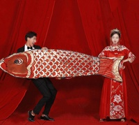 New Style Kite Props National Trends Studio Wedding Dress Ancient Costume Photo Taking Carp Big Kite Chinese Traditional Wedding Dress Filming Large Goldfish