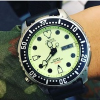 Rare discontinued lume dial citizen diver watch NY0040-09