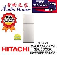 HITACHI R-V450P3MS-1-PWH 365L 2 DOOR INVERTER FRIDGE  ***1 YEAR HITACHI WARRANTY***