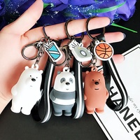 We Bare Bears Keychain Bag Ornaments Lanyard Cartoon Birthday Gift