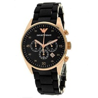 Emporio Armani AR5906 Women's Rose Gold Black Dial Watch 38mm