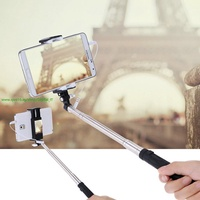 Foldable Portable Extendable Mini Pocket Wired Cable Remote Control Monopod Pole for iPhone Samsung