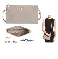 Tory Burch Brody Pebbled Wallet Crossbody Bag beige grey 100% authentic purchase from Tory Burch shop