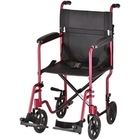"NOVA Medical Products 19"" Lightweight Transport/Wheelchair, Red , Red"