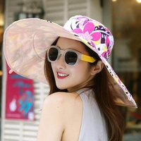 Sunshade Hat Female Summer Outdoor Sun Hat Big Sun Hat UV Protection Lady Travel Folding Beach Hat