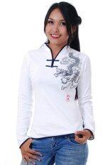 เสื้อจีนหญิง เสื้อตรุษจีนหญิง เสื้อใส่เล่นคอจีน เสื้อจีนผู้หญิงแขนยาว - สีขาว Chinese Top, Chinese Blouse for Women