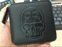 EVISU JAPAN denim leather DARUMA SKULL zip round wallet pouch coin pocket purse apple nike adidas gucci coach