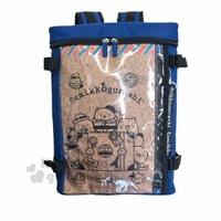 〔小禮堂〕角落生物 尼龍防水透明雙層拉鍊後背包《深藍棕.行李箱》雙肩包.外出包.書包