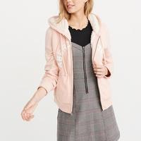 A&F 經典刺繡文字厚鋪毛保暖連帽外套(女)-粉色 AF Abercrombie