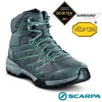 【義大利 SCARPA】女新款 Hydrogen Hike GORE-TEX 多功能防水透氣高筒登山健行鞋.登山鞋(Vibram黃金大底)/63335 鐵灰/瀉湖綠