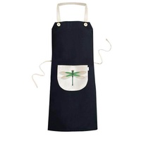 Traditional Chinese Kite Dragonfly Pattern Cooking Kitchen Black Bib Aprons With Pocket for Women Men Chef Gifts - intl