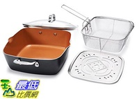 [8美國直購] 不沾鍋 Gotham Steel 1492 XL 11吋 Copper Deep Square All in One 6 Qt Casserole Chefs Pan 4 Piece Set