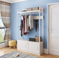 門廳掛衣架多功能落地臥室家用現代衣架歐式鞋櫃衣帽架換鞋凳組合mbs「時尚彩虹屋」