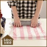BO雜貨【SV9053】ikloo~手捲式真空壓縮收納袋2入組(M) 免吸塵器 真空收納袋 衣物收納 旅行收納袋