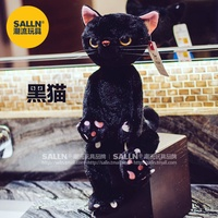All of the small grows a Japanese-style rag doll toy figurine about the 38 cmSalln rice farmland cat figure floss toy cat couch pillow(The solid black color rice farmland cat) - intl