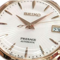 🚚 Seiko SRP852J1 Presage Cocktail Rose Gold Automatic Brown Leather Ladies Watch