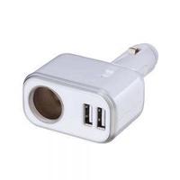 車之嚴選 cars_go 汽車用品【Fizz-937】4.8A雙USB+單孔直插式90度可調點煙器電源插座擴充器