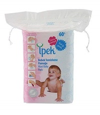 pek Ipek maxi baby pads large 100% cotton total 360 count in 6 packs squares cotton pad squares for