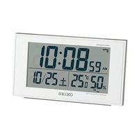 【日本代購】SEIKO精工液晶顯示温度 濕度 時間 鬧鐘 日暦 白珍珠 sq758 W
