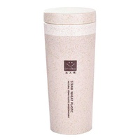 LingTud 300ML Double Layer Thermal Insulation Wheat Biodegradable Travel Water Straw Bottle Mug Cup
