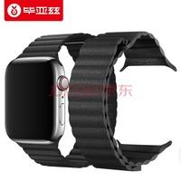 毕亚兹 apple watch表带 苹果手表表带 适用apple watch4表带iwatch1/2/3代手表皮纹款 38/40mm-BD5黑色