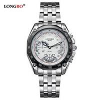 LONGBO夜光防水系列4點下仿三指針男用石英手錶鋼帶款(白色)