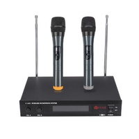 LED Display 2 Channel Karaoke Wireless Handheld Microphone Cordless Dual Mic System with Receiver