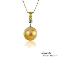 【大東山珠寶】閃耀真鑽 頂級南洋金珍珠項鍊 18K黃金項鍊(時尚珍珠)