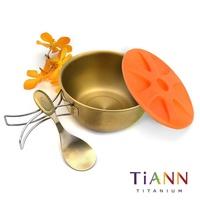 TiANN鈦安 鈦聰明 便當盒中碗-金 500ml彌月推薦套組(中鋼版型)含小湯匙 蝦皮24h 現貨