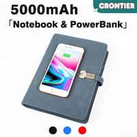 [CRONTIER]rohs oem polymer multi function qi wireless charger notebook powerbank with storage