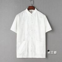 亞麻短袖唐裝男短袖夏季中式漢服中老年短袖亞麻襯衫男爸爸裝棉麻寬鬆上衣