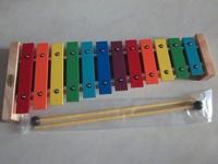 (台灣製)全新~12音彩色鐵琴 12音鐵琴-彩虹排列  鋁製 (附紙盒+琴槌 2支)