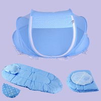 4Pcs Foldable Infant Baby Bed Canopy Mosquito Net Tent Bedding Set Cotton-padded Mattress Pillow