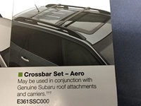 2009-2013 Subaru Forester OEM Aero Cross Bars Roof Rack E361SSC300 Genuine New