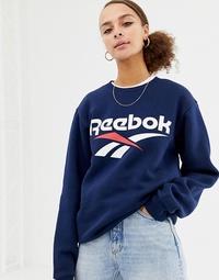 리복 Reebok Classics navy vector logo sweatshirt