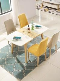 伸縮餐桌椅組合現代簡約小戶型實木鋼化玻璃家用折疊餐桌 MKS小宅女