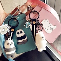 We Bare Bears PU Card Holder Lanyard Keychain
