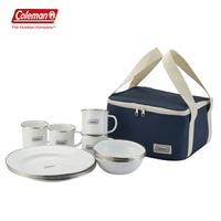 【露營趣】Coleman CM-32362 四人份琺琅餐盤組 環保餐具 餐具組 碗 盤子 杯子