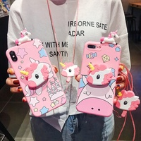 Case Vivo S1 Y17 V15 V11i Y55 Y71 Y81 Y83 Y91 Y95 V5 V7 V9 V5plus Unicorn Soft Case With Lanyard and Holder