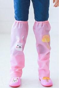 Kocotree◆ 雨天必備時尚可愛防水卡通腳套過膝雨鞋套兒童腿套-童話卡通X粉色