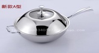 Germany Fashion Top Grade 304 Stainless Steel Wok Stainless Steel Cooking Pot Stainless Steel Three Layer Steel Wok 32 Cm