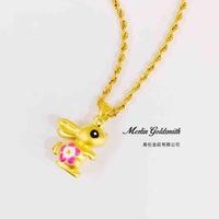 999 Pure Gold Zodiac Pendant - Rabbit