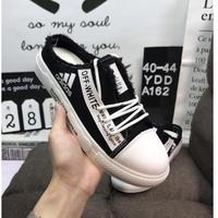 新品 Adidas 愛迪達 Shoes 聯名款 男士拖鞋 青春潮流半拖鞋 2019夏季新款帆布一腳蹬懶人鞋 包頭透氣男鞋