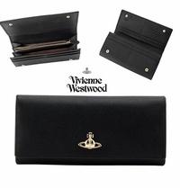 Vivienne Westwood ( 黑色×金屬銀色土星LOGO)  防刮壓紋 真皮 兩摺長夾 皮夾 錢包|100%全新正品|特價!