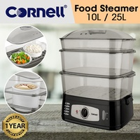 Cornell 3 Tier Electric Food Steamer 10L / 25L Capacity (1 Year Warranty)