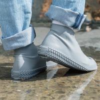 樂嫚妮 輪胎紋防滑耐磨加厚防水矽膠鞋套-灰 (附贈防水收納袋)