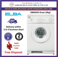 Elba EBD602S Tumble Dryer Clothes Dryer (6kg) + Free Disposal Promo